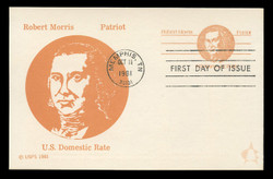U.S. Scott #UX92 (13c) Robert Morris Postal Card First Day Cover.  Andrews cachet.