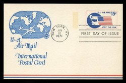 U.S. Scott #UXC11 15c Visit the U.S.A. Airmail Postal Card First Day Cover.  Anderson cachet, BLUE variety.
