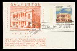 U.S. Scott #UX71 9c Galveston Court House Postal Card First Day Cover.  Anderson cachet, ORANGE variety.