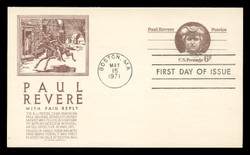U.S. Scott #UY22 6c Paul Revere Reply Card First Day Cover.  Anderson cachet, BROWN variety.