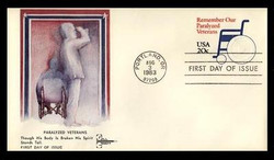 U.S. Scott #U605 20c Paralyzed Veteran Envelope First Day Cover.  Gill Craft cachet.