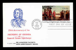 U.S. Scott #UX98 13c Oglethorpe Postal Card First Day Cover.  Ed Hacker (Centennial) cachet.