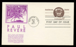 U.S. Scott #UX58 6c Paul Revere Postal Card First Day Cover.  Anderson cachet, PURPLE variety.