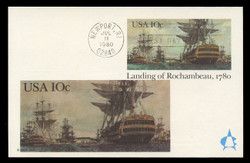 U.S. Scott #UX84 10c Landing of Rochambeau Postal Card First Day Cover.  Andrews cachet.