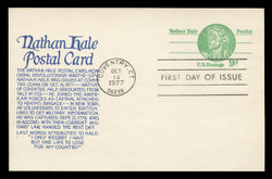 U.S. Scott #UX72 9c Nathan Hale Postal Card First Day Cover.  Anderson cachet, BLUE variety.