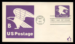 "U.S. Scott #U592 (18c) ""B"" Eagle Envelope First Day Cover.  Andrews cachet."