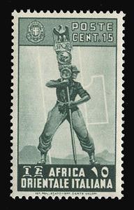 ITALIAN EAST AFRICA Scott #  5, 1938 15c slate green Fascist Legionary