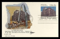 U.S. Scott #UX 97 13c Old St. Louis P.O. Postal Card First Day Cover.  Gill Craft cachet.