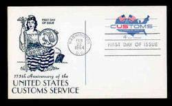 U.S. Scott #UX50 4c Customs Postal Card First Day Cover.  Centennial cachet.