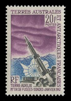 FSAT Scott #  29, 1967  Aurora Australis, Map, & Rocket