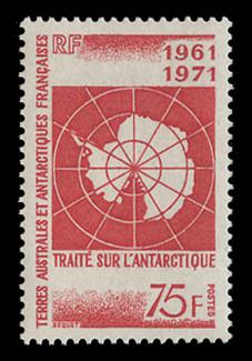 FSAT Scott #  45, 1971  10th Anniversary, Antarctic Treaty