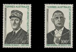 FSAT Scott #  52-3, 1972 Charles de Gaulle (Set of 2)