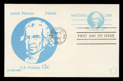 U.S. Scott #UX89 12c Isaiah Thomas Postal Card First Day Cover.  Andrews cachet.