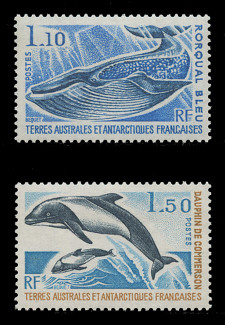 FSAT Scott #  67-8, 1977 Sea Life - Dolphins & Whales (Set of 2)