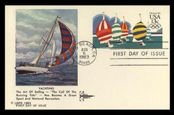 U.S. Scott #UX100 13c Olympics - Yachting Postal Card First Day Cover.  Gill Craft cachet.