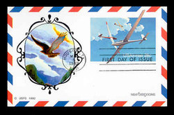 U.S. Scott #UXC20 28c Soaring Gliders Airmail Postal Card First Day Cover.  New Direxions cachet.