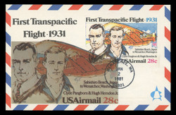 U.S. Scott #UXC19 28c Transpacific Flight Airmail Postal Card First Day Cover.  Andrews cachet.