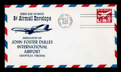 U.S. Scott #UC36 8c Jet Envelope First Day Cover.  Centennial cachet - Dulles Airport Cancel.