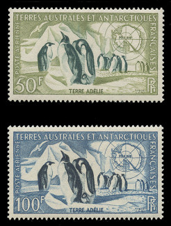 FSAT Scott # C   1 - 2, 1956 Emperor Penguins & Map of Antarctica