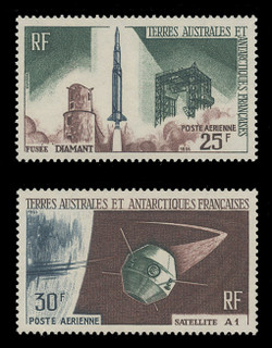 FSAT Scott # C   9 - 10, 1966 French Satellite A-1 Issue (Set of 2)
