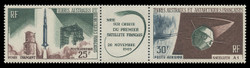 FSAT Scott # C  10a, 1966 French Satellite A-1 Issue (C9-10 Pair + Label)