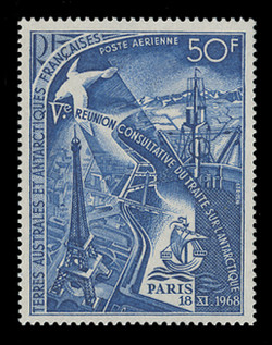 FSAT Scott # C  17, 1969 Eiffel Tower, Research Station, Ship, Albatross