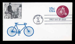 U.S. Scott #U597 15c Bicycle Riding Envelope First Day Cover.  Sarzin printed cachet.
