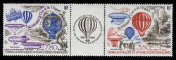 FSAT Scott # C  82a, 1984 Manned Flight - Balloons (C81-2 Pair + Label)