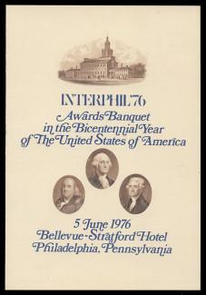"""Brookman SO  5/NO Scott # 1976 ABNC Interphil '76 Awards Banquet Menu """"Souvenir Card"""""""