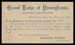 Grand Lodge of Pennsylvania, Quarterly Communication (On Scott #UX7) - Est. period of use, 1883.