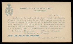 Columbia University, Rowng Club Regatta (On Scott #UX24) - Est. period of use, 1912.