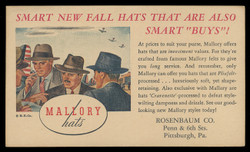 Mallory Hats, Advertising Postal Card (On Scott #UX27) - Est. period of use, 1940s.