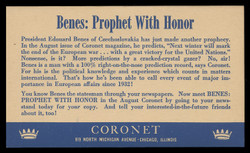 Coronet Magazine, Advertising Postal Card (On Scott #UX27) - Est. period of use, mid 1940s.
