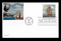 U.S. Scott #UX 86 19c Drake's Golden Hinde Postal Card First Day Cover.  Sarzin Quadrocolorplus cachet.