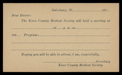 Knox County Medical Society, Meeting Notice (On Scott #UX27) - Est. period of use, early 1930s.