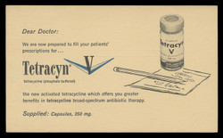 Pfizer, Tetracyn, Drug Store Advertising Card (On Scott #UX38) - Est. period of use, early 1950s.