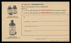 Lilly, Various Drugs, Physician's Sample Request (On Scott #UX38) - Est. period of use, early 1950s.