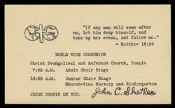 Christ Evangelical & Reformed Church, Communion Notice (On Scott #UX38) - Est. period of use, mid 1950s.
