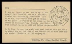 St. John's Baptist Church Class Attendance Notice (On Scott #UX38) - Est. period of use, mid 1950s.