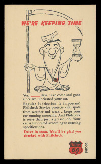 Phillips 66, Gas Station Lubrication Notice #2 (On Scott #UX38) - Est. period of use, early 1950s.