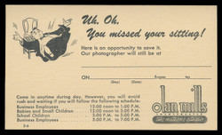 Olan Mills Photography, Missed Appointment Notice (On Scott #UX38) - Est. period of use, early 1950s.