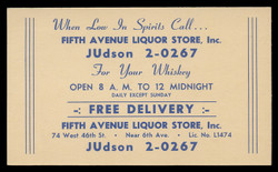 Fifth Avenue Liquor Store, Advertising Postal Card (On Scott #UX41) - Est. period of use, early 1950s.