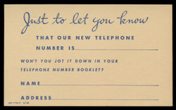 New Telephone Number Notice (On Scott #UX41) - Est. period of use, early 1950s.
