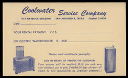 Coolwater Service Company, Water Cooler Rental Payment Notice (On Scott #UX44) - Est. period of use, mid 1950s.
