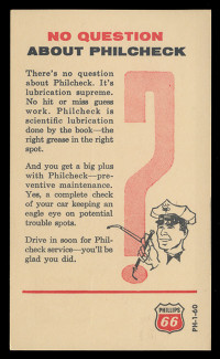 """Phillips 66, Gas Station """"Philcheck"""" Check-Up Advertisement (On Scott #UX46) - Est. period of use, late 1950s."""