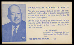 Election Card - Joe Hardenburgh, Campaign for County Commissioner (On Scott #UX48) - Est. period of use, early 1960s.