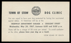 Stow, Massachusetts  Public Dog Vaccination  Program (On Scott #UX48) - Est. period of use, 1967.