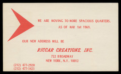 Riccar Creations, Inc., Moving Notice (On Scott #UX55) - Est. period of use, 1969.