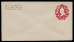 U.S. Scott # U 411a/03, UPSS #1667/15 1907-16 2c Washington, carmine on white, Die 2 - Mint (See Warranty)