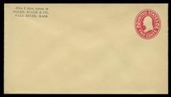 U.S. Scott # U 412a/10, UPSS #1789/15 1907-16 2c Washington, carmine on amber, Die 2 - Mint (See Warranty)